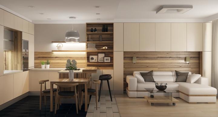Дизайн кухни-гостиной фото 18 кв.м