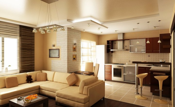 дизайн кухни-гостиной 22 кв м фото