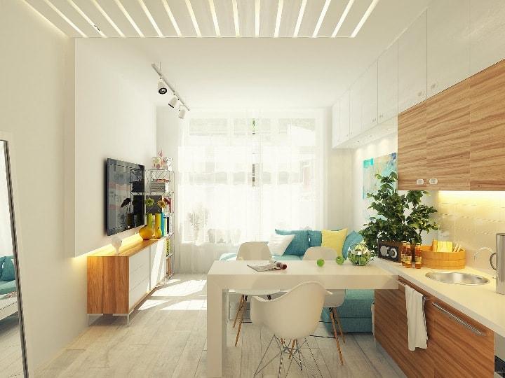 Интерьер кухни в однокомнатной квартире в светлых тонах