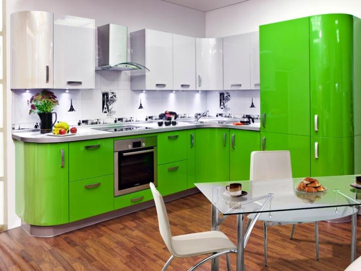 Кухня зеленый металлик
