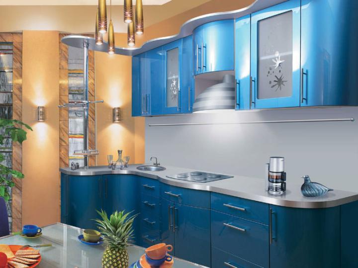 Кухня синий металлик