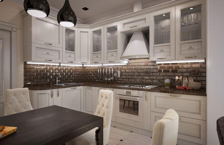 Неоклассический интерьер просторной кухни