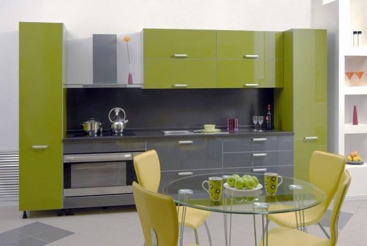 Оливковый цвет интерьера кухни