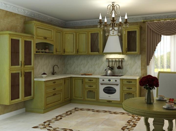 Оливковая кухня в классическом стиле