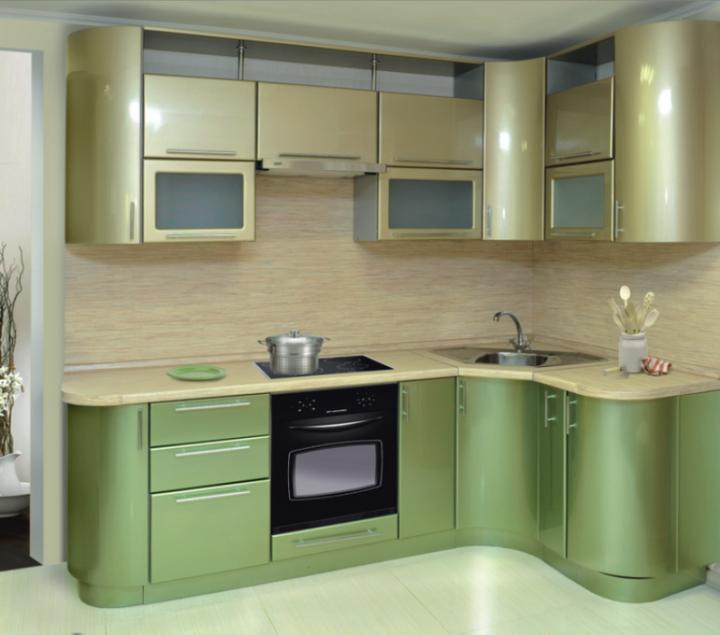 Оливковая кухня в стиле хай-тек