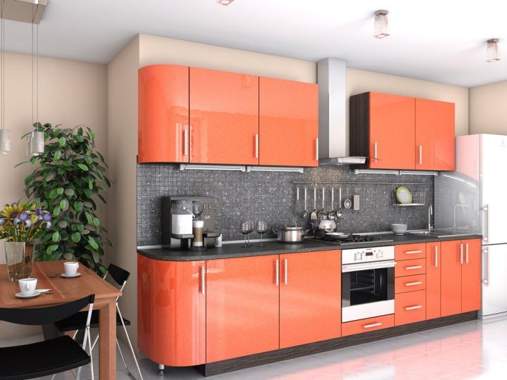 Кухня оранжевый металлик