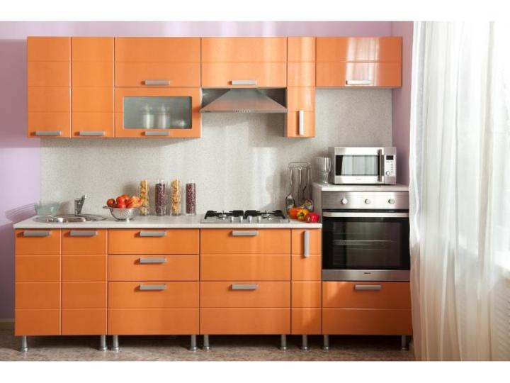 Оранжевая кухня металлик