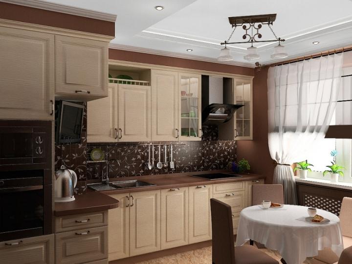 Дизайн кухни в шоколадных тонах фото