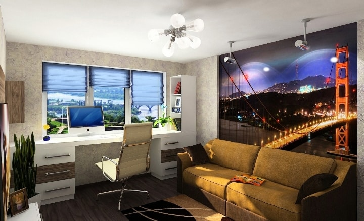 Кухня спальня Дизайн интерьера все в одной комнате дизайн