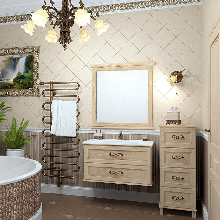 Шпонированная мебель в ванной