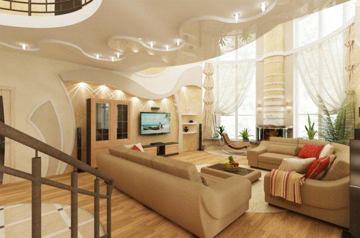 Бежевый цвет гостиной со вторым светом