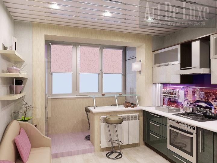 Современная бежевая кухня с балконом