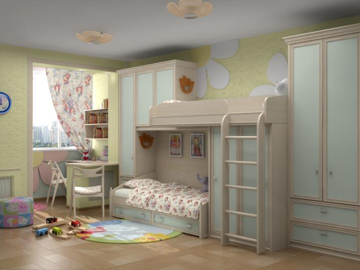 Двухъярусная кровать в светлой детской комнате