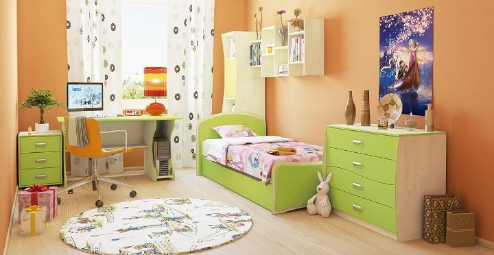 Зеленый гарнитур в детской комнате