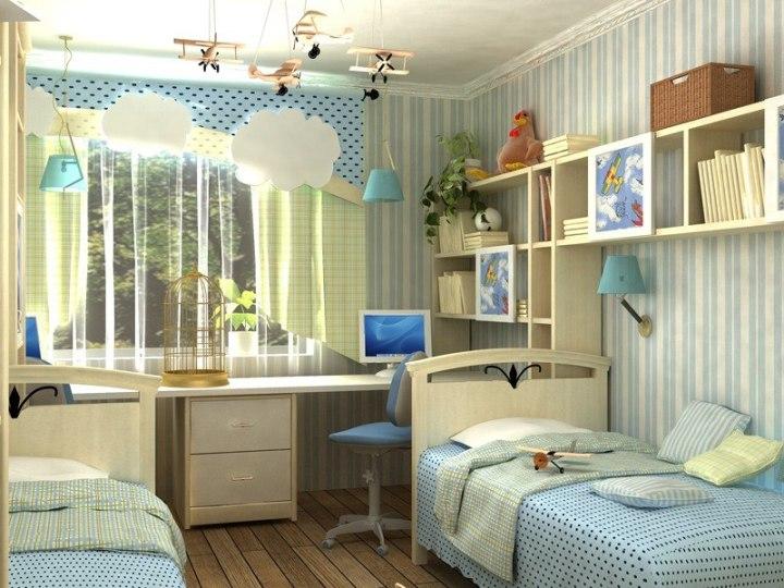 Дизайн детской комнаты для двоих в голубых тонах