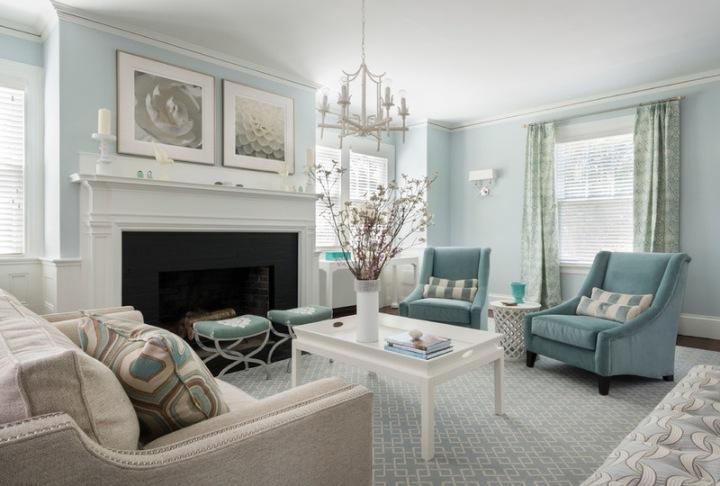 Голубой интерьер в стиле классик