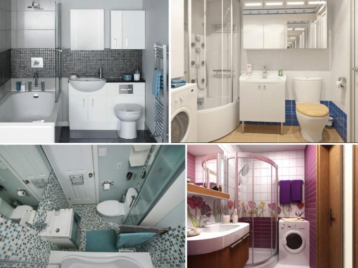 Интерьер маленькой ванной комнаты в хрущевке: коллаж