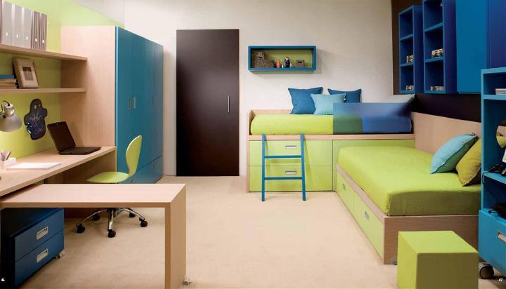 Сине-зеленая детская комната