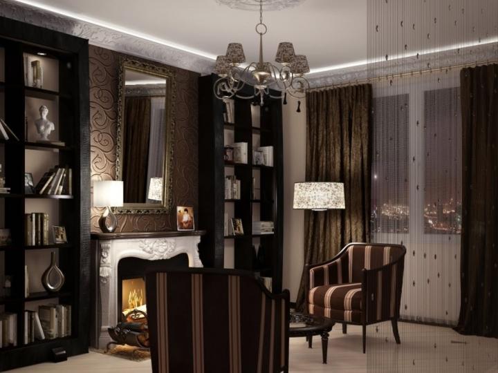 Красивое оформление комнаты с камином