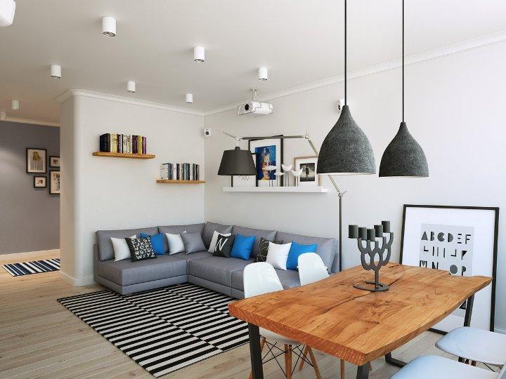 Комната в скандинавском стиле с угловым диваном