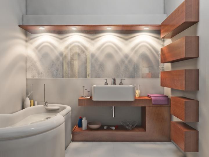 Необычное освещение в ванной комнате