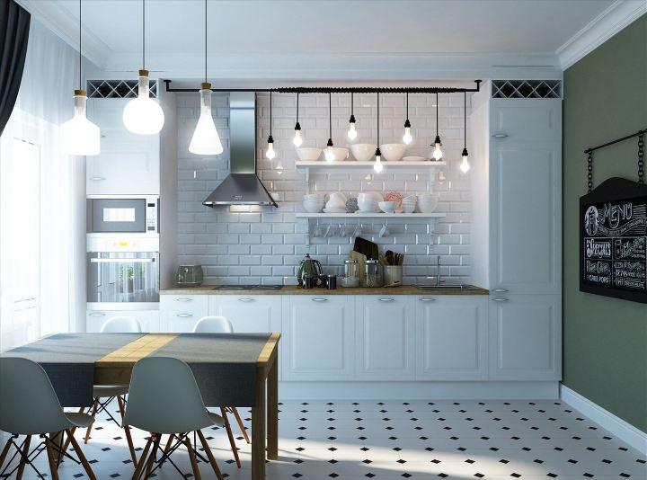 Олдскульные светильники на кухне