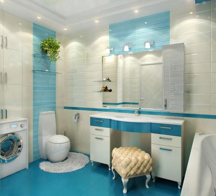 Милая голубая ванная комната