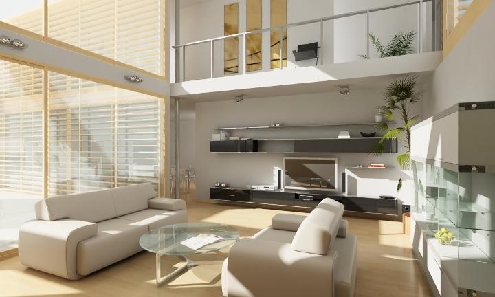 Дизайн гостиной в стиле хай-тек с огромными окнами