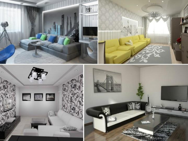 Идеи для интерьера черно-белой гостиной