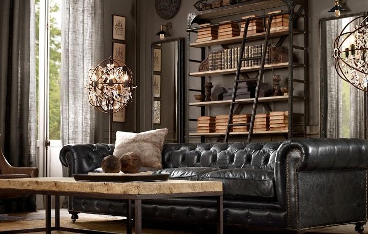 Роскошный диван из натуральной кожи