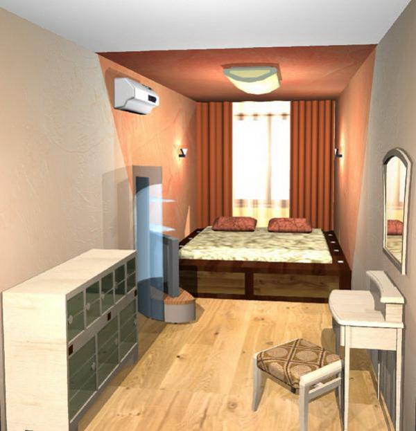 Дизайн спальни длинной и узкой