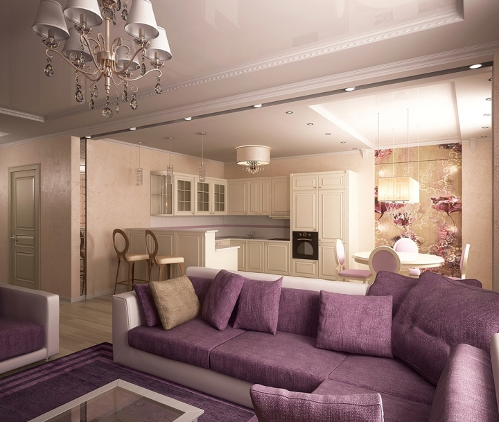 Бежево-фиолетовая гостиная