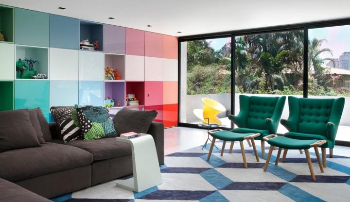 Дизайн гостиной в стиле семидесятых