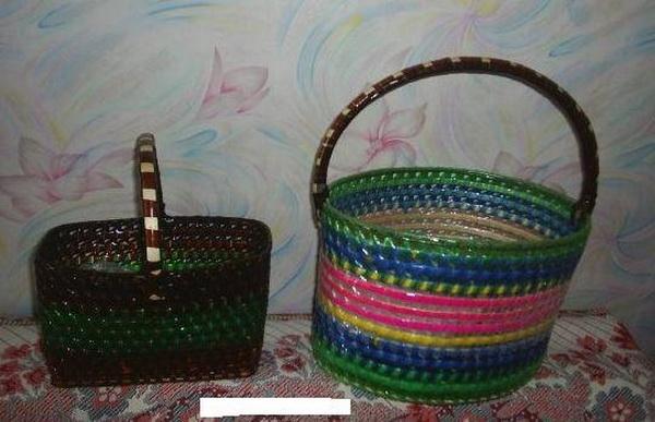 Плетение корзины из пластиковых