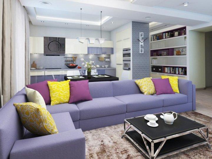 Серо-желтый интерьер квартиры-студии