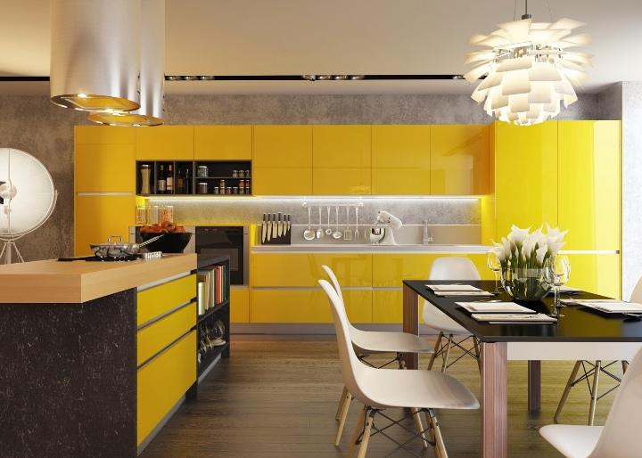 Желтый интерьер кухни
