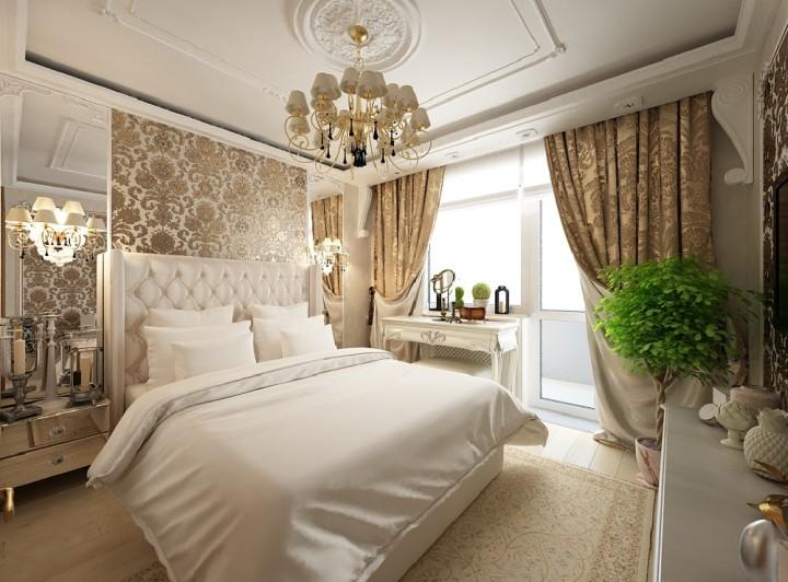 Итальянский интерьер спальни в светлых тонах