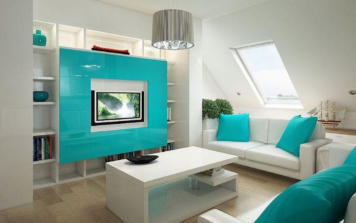 Бело-бирюзовый интерьер гостиной