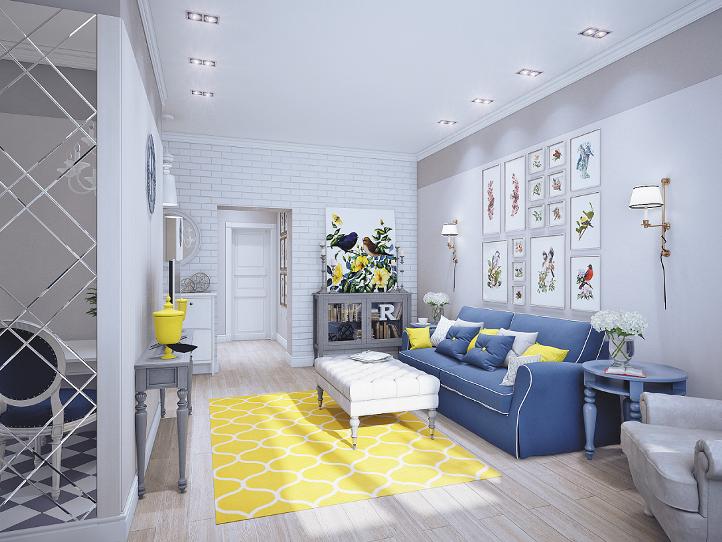 Белый интерьер зала с желтыми акцентами и синим диваном
