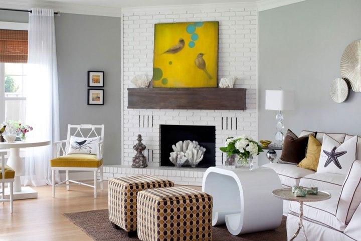 Дизайн белой гостиной в европейском стиле