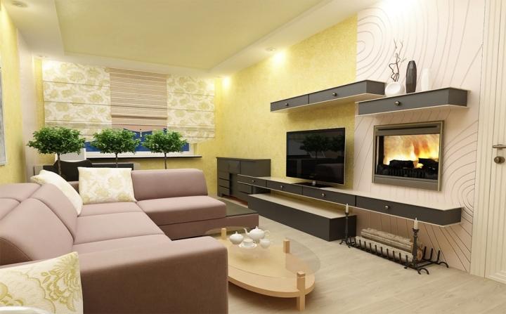 Камин в современной гостиной