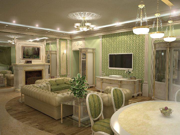 Классическая гостиная зеленого цвета