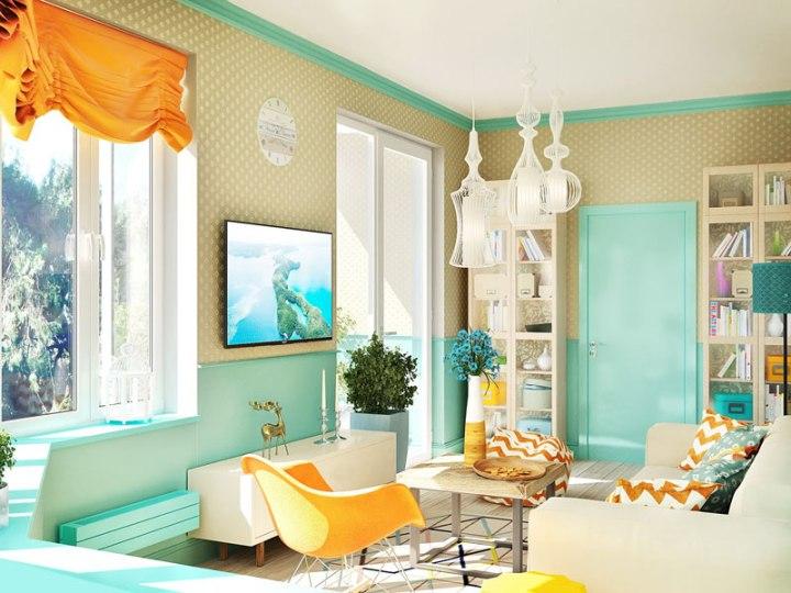 Оранжево-бирюзовая гостиная