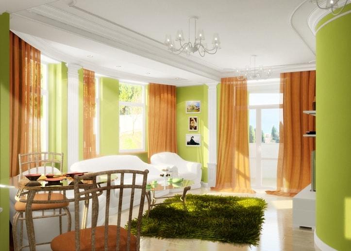 Оранжево-зеленая гостиная
