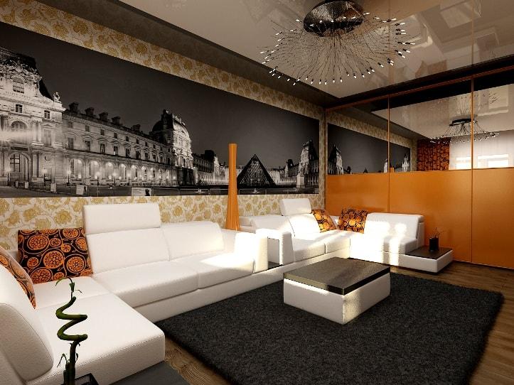 Оранжевые аксессуары в гостиной