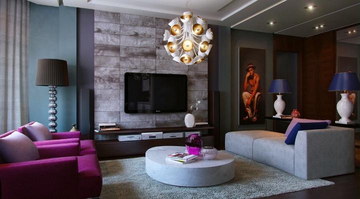 Современная люстра в гостиной