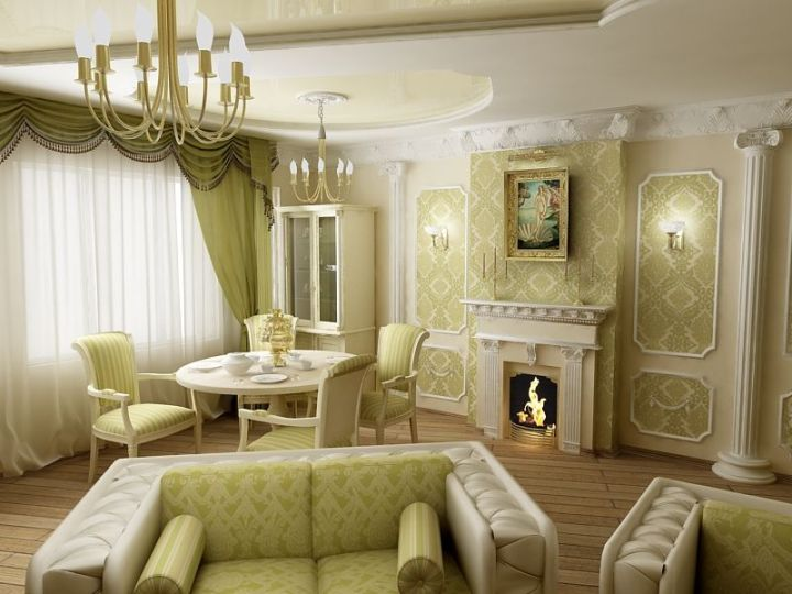 Светло зеленая гостиная