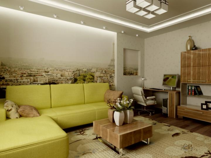 Зелено-коричневая гостиная