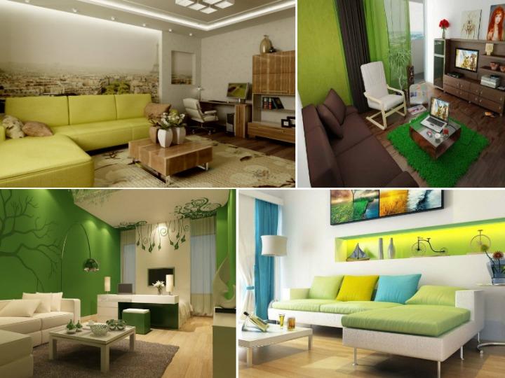 Зеленые гостиные - коллаж