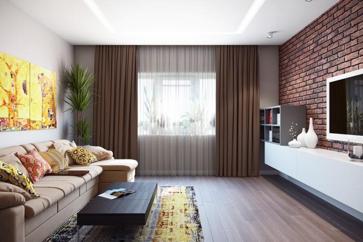 Брутальная кирпичная стена в гостиной